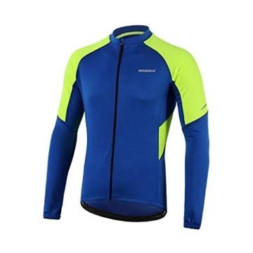 BERGRISAR Herren Basic Radtrikot Langarm Fahrrad Shirt Reißverschluss Taschen BG012 - Blau - X-Groß - 1
