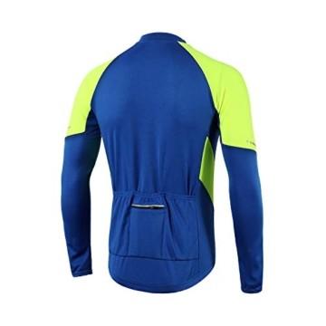 BERGRISAR Herren Basic Radtrikot Langarm Fahrrad Shirt Reißverschluss Taschen BG012 - Blau - X-Groß - 5