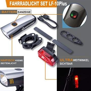 Bestargot LED Fahrradlicht Set, LED Fahrradbeleuchtung StVZO Zugelassen, USB Wiederaufladbare Frontlicht und Rücklicht Set, Fahrradlampe, 60/30 Lux, 2600mAh Samsung Li-ion,IPX5 Wasserdicht - 2