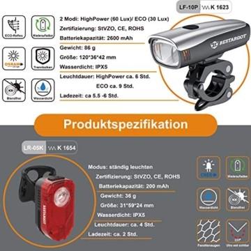 Bestargot LED Fahrradlicht Set, LED Fahrradbeleuchtung StVZO Zugelassen, USB Wiederaufladbare Frontlicht und Rücklicht Set, Fahrradlampe, 60/30 Lux, 2600mAh Samsung Li-ion,IPX5 Wasserdicht - 3