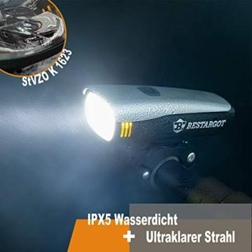 Bestargot LED Fahrradlicht Set, LED Fahrradbeleuchtung StVZO Zugelassen, USB Wiederaufladbare Frontlicht und Rücklicht Set, Fahrradlampe, 60/30 Lux, 2600mAh Samsung Li-ion,IPX5 Wasserdicht - 4