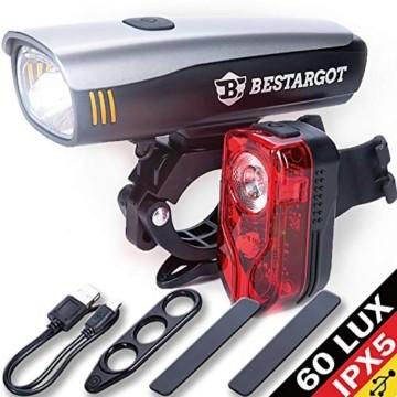Bestargot LED Fahrradlicht Set, LED Fahrradbeleuchtung StVZO Zugelassen, USB Wiederaufladbare Frontlicht und Rücklicht Set, Fahrradlampe, 60/30 Lux, 2600mAh Samsung Li-ion,IPX5 Wasserdicht - 1