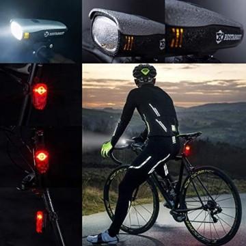 Bestargot LED Fahrradlicht Set, LED Fahrradbeleuchtung StVZO Zugelassen, USB Wiederaufladbare Frontlicht und Rücklicht Set, Fahrradlampe, 60/30 Lux, 2600mAh Samsung Li-ion,IPX5 Wasserdicht - 5