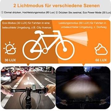 Bestargot LED Fahrradlicht Set, LED Fahrradbeleuchtung StVZO Zugelassen, USB Wiederaufladbare Frontlicht und Rücklicht Set, Fahrradlampe, 60/30 Lux, 2600mAh Samsung Li-ion,IPX5 Wasserdicht - 6