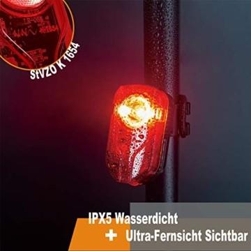Bestargot LED Fahrradlicht Set, LED Fahrradbeleuchtung StVZO Zugelassen, USB Wiederaufladbare Frontlicht und Rücklicht Set, Fahrradlampe, 60/30 Lux, 2600mAh Samsung Li-ion,IPX5 Wasserdicht - 7