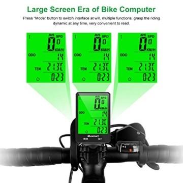 Blusmart Fahrradcomputer Kabellos Fahrrad Computer IP66 Wasserdicht Fahrradtacho 21 Funktionen Wireless Tacho Bike Computer Bicycle LCD Geschwindigkeit Radcomputer für Realtime Speed Track - 2