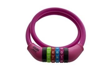 Büchel Kinder Fahrradkombinationsschloss Sekura KB208, 4-stellig programmierbar, mit Überzug, Pink, 65 cm, 60505208 - 3