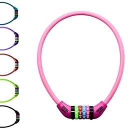 Büchel Kinder Fahrradkombinationsschloss Sekura KB208, 4-stellig programmierbar, mit Überzug, Pink, 65 cm, 60505208 - 1