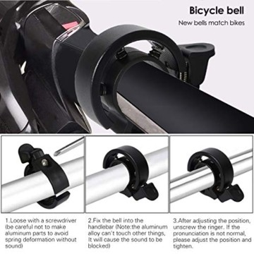 Cevikno 2 Pack Mini Fahrradklingel Fahrradlenkring Klingel Sicherheitswarnung Fahrrad Glocke laut und hell (Blau+Schwarz) - 6