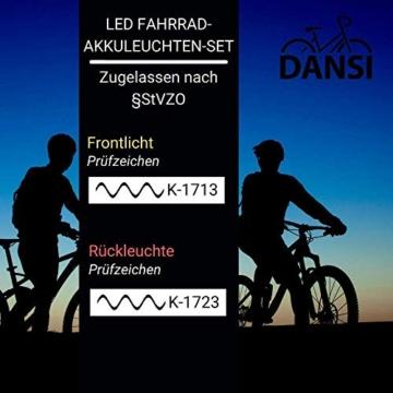 DANSI Fahrradleuchten-Set StVZO I LED-Fahrrad-Licht Akku USB aufladbar I Rad-Licht hell vorne + hinten I Fahrradbeleuchtung umschaltbar 30/15 Lux I Rücklicht & Frontleuchte Stoßfest & Regenfest -
