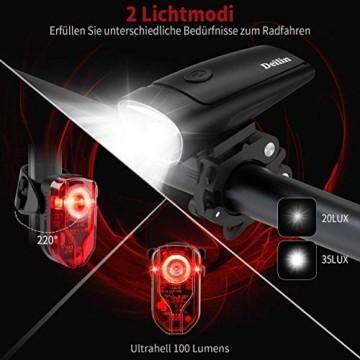 Deilin LED Fahrradlicht Set, 2 Licht-Modi Fahrradlampe StVZO Zugelassen Fahrradbeleuchtung, USB Aufladbar Fahrradlicht Vorne Rücklicht Set, IPX5 Wasserdicht Fahrrad Licht für Radfahren, Camping usw. - 3