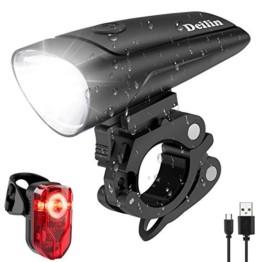 Deilin LED Fahrradlicht Set, 2 Licht-Modi Fahrradlampe StVZO Zugelassen Fahrradbeleuchtung, USB Aufladbar Fahrradlicht Vorne Rücklicht Set, IPX5 Wasserdicht Fahrrad Licht für Radfahren, Camping usw. - 1