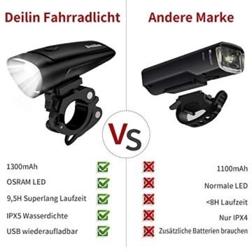 Deilin LED Fahrradlicht Set, 2 Licht-Modi Fahrradlampe StVZO Zugelassen Fahrradbeleuchtung, USB Aufladbar Fahrradlicht Vorne Rücklicht Set, IPX5 Wasserdicht Fahrrad Licht für Radfahren, Camping usw. - 5