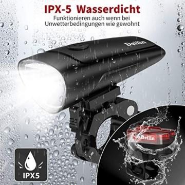 Deilin LED Fahrradlicht Set, 2 Licht-Modi Fahrradlampe StVZO Zugelassen Fahrradbeleuchtung, USB Aufladbar Fahrradlicht Vorne Rücklicht Set, IPX5 Wasserdicht Fahrrad Licht für Radfahren, Camping usw. - 6