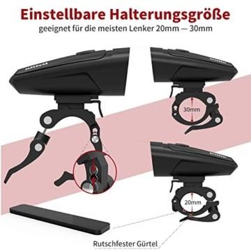 Deilin LED Fahrradlicht Set, 2 Licht-Modi Fahrradlampe StVZO Zugelassen Fahrradbeleuchtung, USB Aufladbar Fahrradlicht Vorne Rücklicht Set, IPX5 Wasserdicht Fahrrad Licht für Radfahren, Camping usw. - 7
