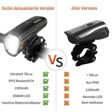 Deilin Upgraded LED Fahrradlicht Set, bis zu 70 Lux Fahrradlampe, StVZO Zugelassen USB Aufladbar Fahrradbeleuchtung, IPX5 Wasserdicht Fahrradlicht Vorne Frontlicht& Rücklicht Set - 2
