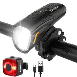 Deilin Upgraded LED Fahrradlicht Set, bis zu 70 Lux Fahrradlampe, StVZO Zugelassen USB Aufladbar Fahrradbeleuchtung, IPX5 Wasserdicht Fahrradlicht Vorne Frontlicht& Rücklicht Set - 1