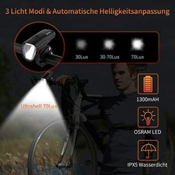 Deilin Upgraded LED Fahrradlicht Set, bis zu 70 Lux Fahrradlampe, StVZO Zugelassen USB Aufladbar Fahrradbeleuchtung, IPX5 Wasserdicht Fahrradlicht Vorne Frontlicht& Rücklicht Set - 5