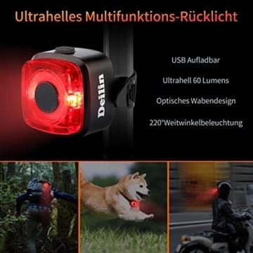 Deilin Upgraded LED Fahrradlicht Set, bis zu 70 Lux Fahrradlampe, StVZO Zugelassen USB Aufladbar Fahrradbeleuchtung, IPX5 Wasserdicht Fahrradlicht Vorne Frontlicht& Rücklicht Set - 6