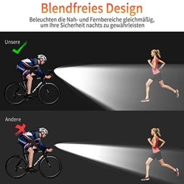Deilin Upgraded LED Fahrradlicht Set, bis zu 70 Lux Fahrradlampe, StVZO Zugelassen USB Aufladbar Fahrradbeleuchtung, IPX5 Wasserdicht Fahrradlicht Vorne Frontlicht& Rücklicht Set - 7
