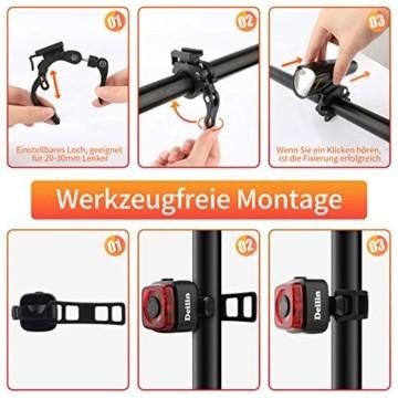 Deilin Upgraded LED Fahrradlicht Set, bis zu 70 Lux Fahrradlampe, StVZO Zugelassen USB Aufladbar Fahrradbeleuchtung, IPX5 Wasserdicht Fahrradlicht Vorne Frontlicht& Rücklicht Set - 8