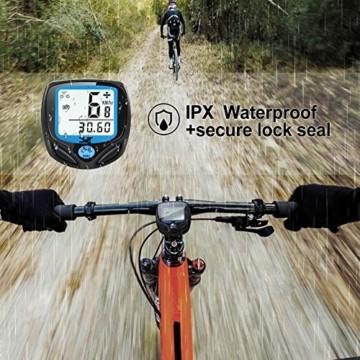 DINOKA Fahrradcomputer Digital, Drahtlos Fahrradtacho, Wasserdicht Kabellos Kilometerzähler mit Automatisches Aufwachen und LCD-Hintergrundbeleuchtung - 3
