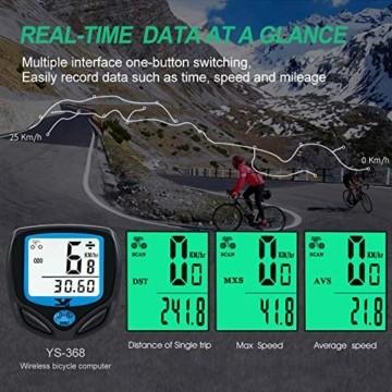 DINOKA Fahrradcomputer Digital, Drahtlos Fahrradtacho, Wasserdicht Kabellos Kilometerzähler mit Automatisches Aufwachen und LCD-Hintergrundbeleuchtung - 4