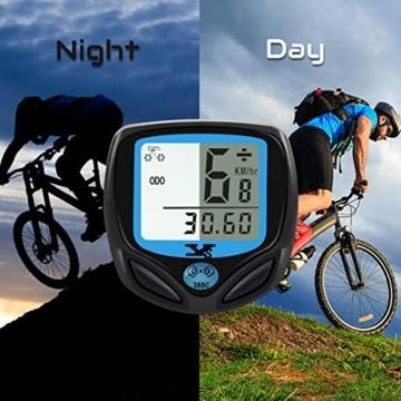 DINOKA Fahrradcomputer Digital, Drahtlos Fahrradtacho, Wasserdicht Kabellos Kilometerzähler mit Automatisches Aufwachen und LCD-Hintergrundbeleuchtung - 6