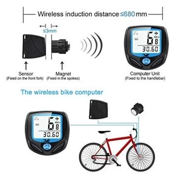 DINOKA Fahrradcomputer Digital, Drahtlos Fahrradtacho, Wasserdicht Kabellos Kilometerzähler mit Automatisches Aufwachen und LCD-Hintergrundbeleuchtung - 7