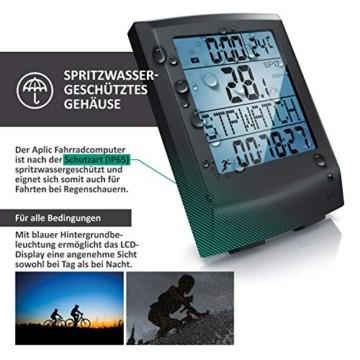 Fahrradcomputer kabellos - Fahrradtacho - Radcomputer - Tachometer - 13 Funktionen - Temperaturanzeige in °C - Hintergrundbeleuchtung - 2