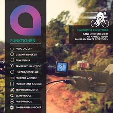 Fahrradcomputer kabellos - Fahrradtacho - Radcomputer - Tachometer - 13 Funktionen - Temperaturanzeige in °C - Hintergrundbeleuchtung - 4