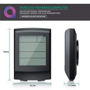 Fahrradcomputer kabellos - Fahrradtacho - Radcomputer - Tachometer - 13 Funktionen - Temperaturanzeige in °C - Hintergrundbeleuchtung - 6