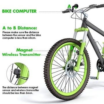 Fahrradcomputer Kabellos Wasserdicht, Fahrradtachometer mit 3 Hintergrundbeleuchtung, Auto Aufwecken Fahrradtacho Kabellos, LCD Fahrrad Computers Drahtlos, Fahrradcomputer für Kinder und Erwachsene - 4