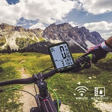Fahrradcomputer Kabellos Wasserdicht, Fahrradtachometer mit Hintergrundbeleuchtung, Auto Aufwecken Fahrradtacho Kabellos, LCD Fahrrad Computers Drahtlos, Radcomputer für Kinder und Erwachsene-Weiß - 2