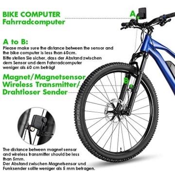 Fahrradcomputer Kabellos Wasserdicht, Fahrradtachometer mit Hintergrundbeleuchtung, Auto Aufwecken Fahrradtacho Kabellos, LCD Fahrrad Computers Drahtlos, Radcomputer für Kinder und Erwachsene-Weiß - 6