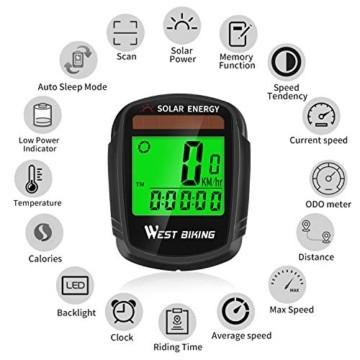 Fahrradcomputer mit Sonnenenergie, Fahrradtacho und Kilometerzähler, Drahtloser, Wasserdichter Fahrradcomputer, LCD-Hintergrundbeleuchtung, Automatisches Aufwecken und Multifunktionen - 4