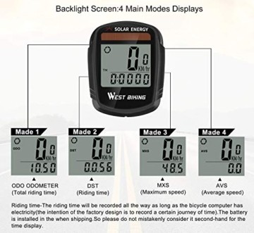 Fahrradcomputer mit Sonnenenergie, Fahrradtacho und Kilometerzähler, Drahtloser, Wasserdichter Fahrradcomputer, LCD-Hintergrundbeleuchtung, Automatisches Aufwecken und Multifunktionen - 7