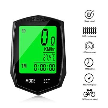 Fahrradcomputer Wasserdicht, Korostro Fahrradcomputer Kabellos Fahrrad Computer Wasserdicht LCD Backlight 24 Funktionen, Leicht Geschwindigkeitsmesser Kilometerzähler für Radsport Realtime Speed Track - 3