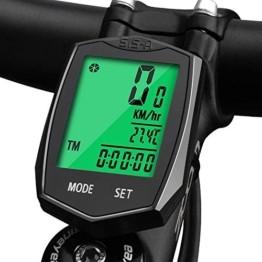 Fahrradcomputer Wasserdicht, Korostro Fahrradcomputer Kabellos Fahrrad Computer Wasserdicht LCD Backlight 24 Funktionen, Leicht Geschwindigkeitsmesser Kilometerzähler für Radsport Realtime Speed Track - 1