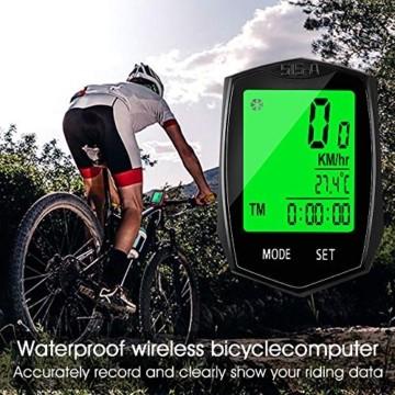 Fahrradcomputer Wasserdicht, Korostro Fahrradcomputer Kabellos Fahrrad Computer Wasserdicht LCD Backlight 24 Funktionen, Leicht Geschwindigkeitsmesser Kilometerzähler für Radsport Realtime Speed Track - 4