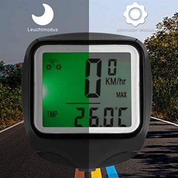 FINIBO Fahrradcomputer, Kabelgebundene Kilometerzähler TACHO für Fahrrad, 23 Funktionen wasserdichte LCD Geschwindigkeit Fahrradtacho Radcomputer - 2