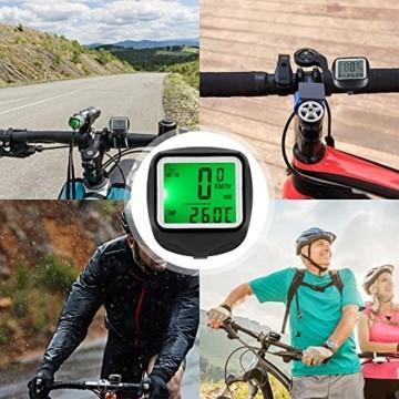 FINIBO Fahrradcomputer, Kabelgebundene Kilometerzähler TACHO für Fahrrad, 23 Funktionen wasserdichte LCD Geschwindigkeit Fahrradtacho Radcomputer - 3