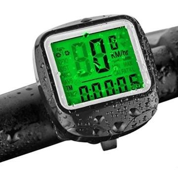 FINIBO Fahrradcomputer, Kabelgebundene Kilometerzähler TACHO für Fahrrad, 23 Funktionen wasserdichte LCD Geschwindigkeit Fahrradtacho Radcomputer - 1