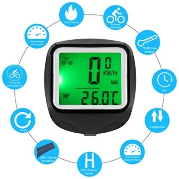 FINIBO Fahrradcomputer, Kabelgebundene Kilometerzähler TACHO für Fahrrad, 23 Funktionen wasserdichte LCD Geschwindigkeit Fahrradtacho Radcomputer - 6
