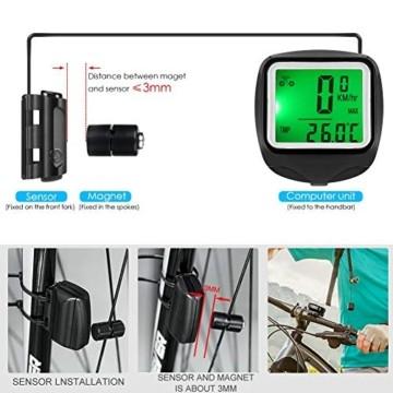 FINIBO Fahrradcomputer, Kabelgebundene Kilometerzähler TACHO für Fahrrad, 23 Funktionen wasserdichte LCD Geschwindigkeit Fahrradtacho Radcomputer - 7