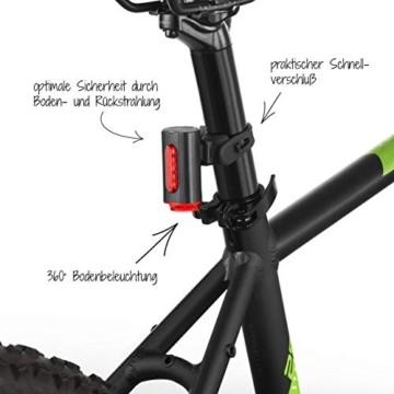 FISCHER Twin Fahrrad-Rücklicht mit 360° Bodenleuchte für mehr Sichtbarkeit und Schutz, aufladbarer Akku - 6