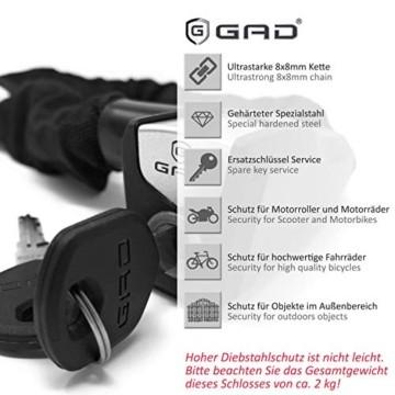 GAD® Fahrradschloss Kettenschloss mit Schlüssel - Schloss mit 8x8mm Kette, geeignet für Fahrrad E Bike und Roller (Schwarz, 110 cm) - 3