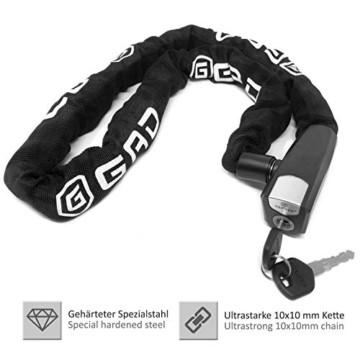 GAD® Fahrradschloss Kettenschloss mit Schlüssel - Schloss mit 8x8mm Kette, geeignet für Fahrrad E Bike und Roller (Schwarz, 110 cm) - 5