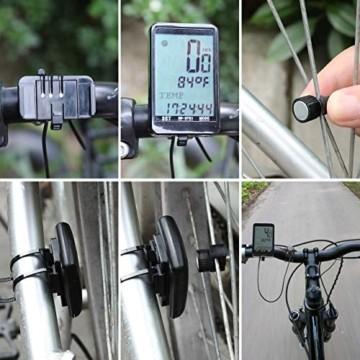 Gafild Fahrradcomputer Kabellos, Radcomputer Wireless IPX7 Wasserdicht mit 32 Funktionen, Fahrradtacho Fahrrad Kilometerzähler Drahtlos mit LCD & 9 Sprachen für Fahrrad/Outdoor/Fitness - 4