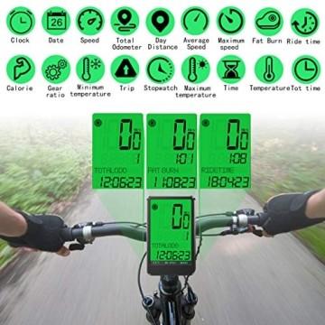 Gafild Fahrradcomputer Kabellos, Radcomputer Wireless IPX7 Wasserdicht mit 32 Funktionen, Fahrradtacho Fahrrad Kilometerzähler Drahtlos mit LCD & 9 Sprachen für Fahrrad/Outdoor/Fitness - 5